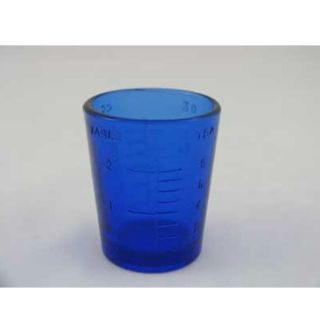 NEW Decorative Glass Cobalt Blue 1 Oz Medicine Measuring Cup Jigger