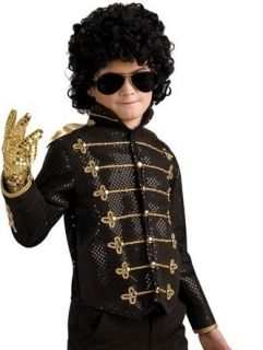Child Large Boys Black Michael Jackson Military Jacket Costume