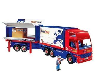 Playmobil 4323 Eurotrans Semi Truck Big Rig Trailer Red RC New Set