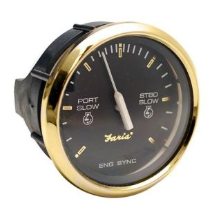 FARIA SY9720A REGAL GOLD SERIES BLACK BOAT ENGINE SYNCHRONIZER GAUGE