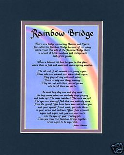 Rainbow Bridge Dog Memorial Gift Poem Bereavement Sign