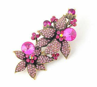 Rich Flowers Red Crystals Rhinestone Brooch Pin Antique Bronze Plated