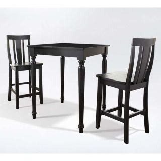 Brookstone 3 Pc Pub Dining Set Table and 2 Turned Leg Shield Back