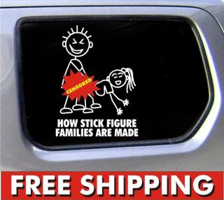 stick figure family decal funny window bumper sticker car how made