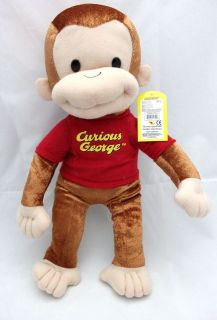 Licensed Curious George 16 Medium Plush Doll FIgure   RED OUTFIT