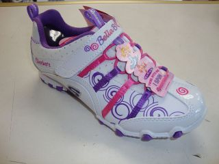 SKECHERS BELLA BALLERINA PRINCESS GIRLS SHOES WHITE PURPLE PINK 82022