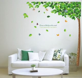 Green tree butterfly removable Wall sticker Decor decal Wallpaper Art