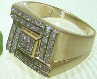 Estate 10K Yellow Gold Mens Square Diamond Ring 1.00ctw Size 8.5