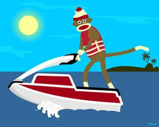Sock Monkey Jet Ski Stand Up Jetski Water Watercraft Cute Pop Art
