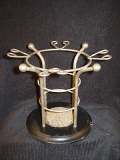 and glass holder party merlot chardonnay wood iron table top display