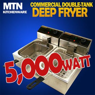 MTN 5000W Commercial Countertop Table Electric Double Tank Deep Fryer