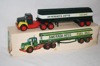 RARE 1969 Hess Amerada Gasoline Toy Truck Tank Trailer in Original