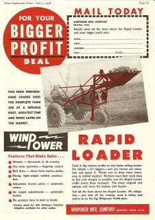 1948 WINPOWER RAPID BELT POWER TRACTOR FRONT END LOADER AD NEWTON IOWA