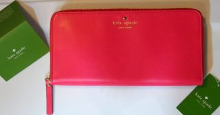 Kate Spade Ringwold Pink LEATHER Zip Travel WALLET Tudor City PWRU2554