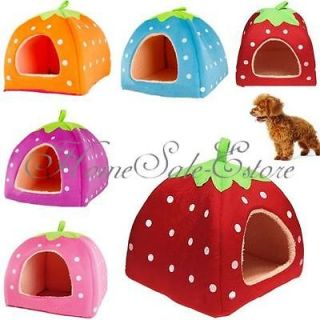 Pet Dog Cat Soft Strawberry Sponge Foldable Doggy House Bed Kennel