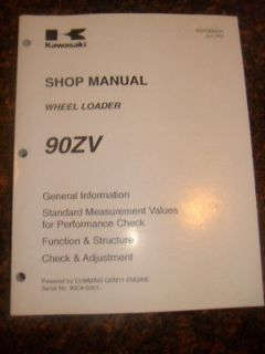 KAWASAKI 90ZV WHEEL LOADER SHOP SERVICE MANUAL