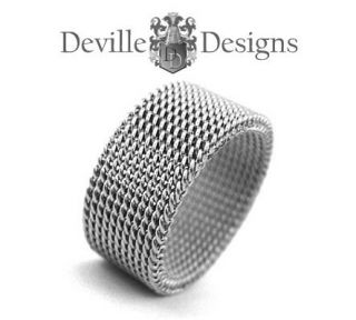 CHAINMAIL / SILVER STAINLESS STEEL RING / MENS OR LADIES BAND + POUCH