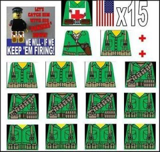Lego WW2 American Field Soldiers Sticker Decals Green 15 custom