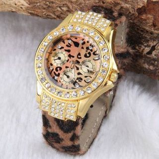 Fashion Women Girls Leopard Pattern Crystal PU Leather Bracelet Watch