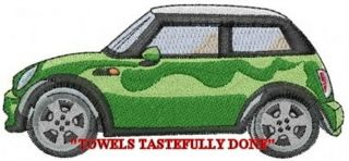 MINI COOPER CAR   U CHOOSE COLOR   2 EMBROIDERED HAND TOWELS by Susan