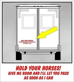 HOLD YOUR HORSES to pass decal for tailgating fits horse truck trailer