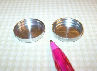 Miniature Pair of Aluminum Cake Pans for DOLLHOUSE Kitchen 1/12 Scale