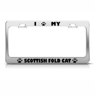 FOLD CAT CHROME ANIMAL LICENSE PLATE FRAME STAINLESS METAL TAG HOLDER