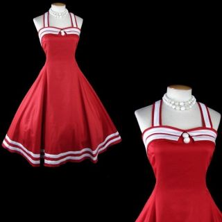 Vintage 50s Dress RED NAUTICAL SAILOR Rockabilly Halter Circle