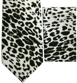 New Mens polyester leopard print necktie set white