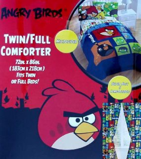 ANGRY BIRDS COLLAGE FULL SIZE COMFORTER SHEETS DRAPES 6PC BEDDING
