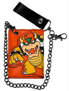 Bowser Super Mario Bros Nintendo Video Game Trifold Wallet With Chain