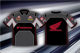 Honda Racing Mens Cotton Shirt Grey Black 2 Sided Pit Shirt