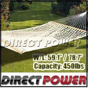Extra Wide 59 Swing Outdoor Cotton Rope Double Hammock Bed 450lb Cap