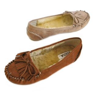 Soda Parry Comfy Fringe Bow Faux Fur Lining Moccasin Flats
