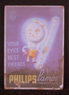 Philips Light Bulb sign old cardboard lamp store display trade