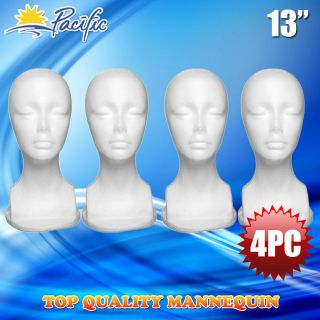 4PC 13 STYROFOAM FOAM MANNEQUIN MANIKIN head display wig hat glasses