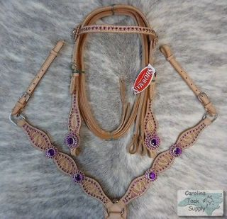 Rhinestone Light Oil Bridle,Breastcollar & Reins Set NEW Horse Tack