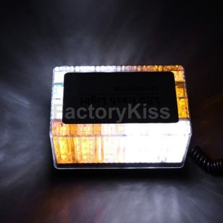 SM 48 LED Car Roof Mini Strobe Emergency Light Bar Amber & White #187