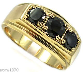 Three Black CZ Stone Gold Plated Mens Ring
