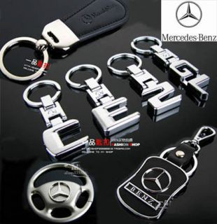 Mercedes Benz Auto Car Key chain Ring Cowhide Bag Headrest CD Storage