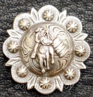 Set of 6 WESTERN ANTIQUE BARREL RACER BERRY SADDLE CONCHOS 1 1/4