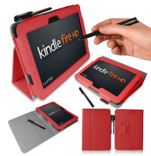 CARBON FIBRE RED  Kindle Fire HD (7 inch) Leather Stand Case
