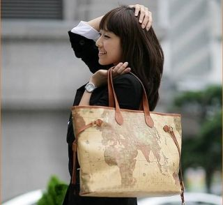 Womens Fashion World Map Tote Shoulder Handbag Bag