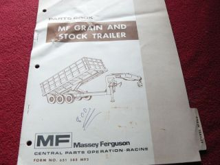 Massey Ferguson Grain and Stock Trailer Dealers Parts Book