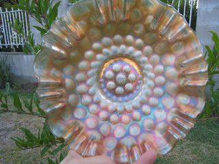 Beautiful Vintage Orange Carnival Glass Ruffled Bowl