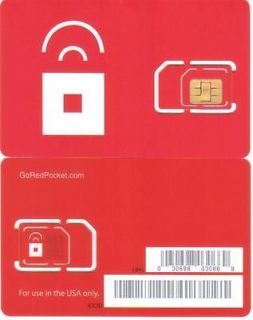 RED POCKET MOBILE DUAL CUT SIM STANDARD OR MICRO SIM CARD WORKS w/ AT