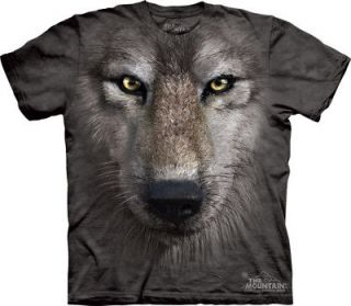 THE MOUNTAIN WOLF FACE WILD ANIMAL FACE T SHIRT L