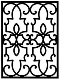 Wrought Iron Rectangular Wall Art Décor Style 199 Black 23.75 x 32