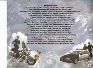 Police Motorcyle Officer Poem Prayer Personalized Name