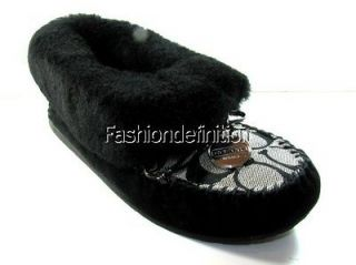 Signature Black White Women ARLEEN Moccasia Slippers Shoes Flat Suede
